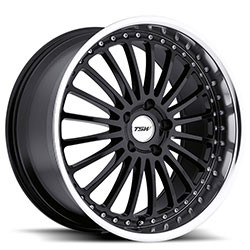 TSW SILVERSTONE Gloss Black W/Mirror Cut Lip 22X11 5-120 Wheel
