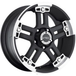 V-Tec STYLE 394-WARLORD RWD Matte Black Machined Face W/ Chrome Bolts 22X10 8-170 Wheel
