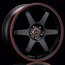 Volk Racing TE37 Black/Red Wheel