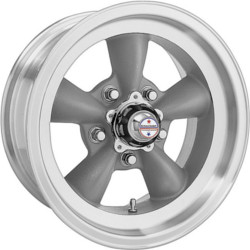 American Racing Hot Rod TORQ THRUST D Torq Thrust Gray W/ Mach Lip 15X6 5-114.3 Wheel