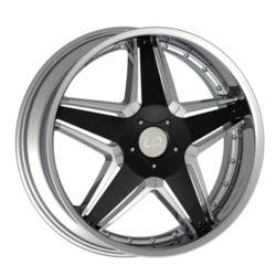 U2 U2-145 Chrome W/ Black Inserts 22X10 5-120 Wheel