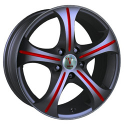 Velocity VW073 Black W/ Red Line Spokes 17X7 5-100 Wheel