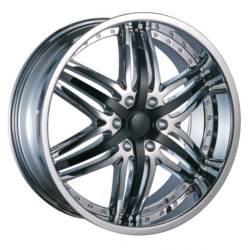 Velocity VW810B Chrome W/ Black Inserts Wheel
