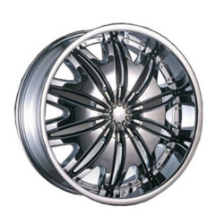 Velocity VW820 Chrome W/ Black Inserts 24X10 5-135 Wheel