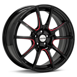 Axis XCITE Polished Black W/ Red Grooves Wheel